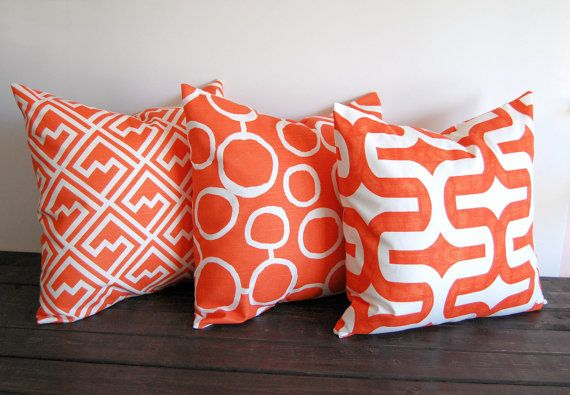Orange throw pillow covers set of three 16 x 16 by ThePillowPeople, $48.00