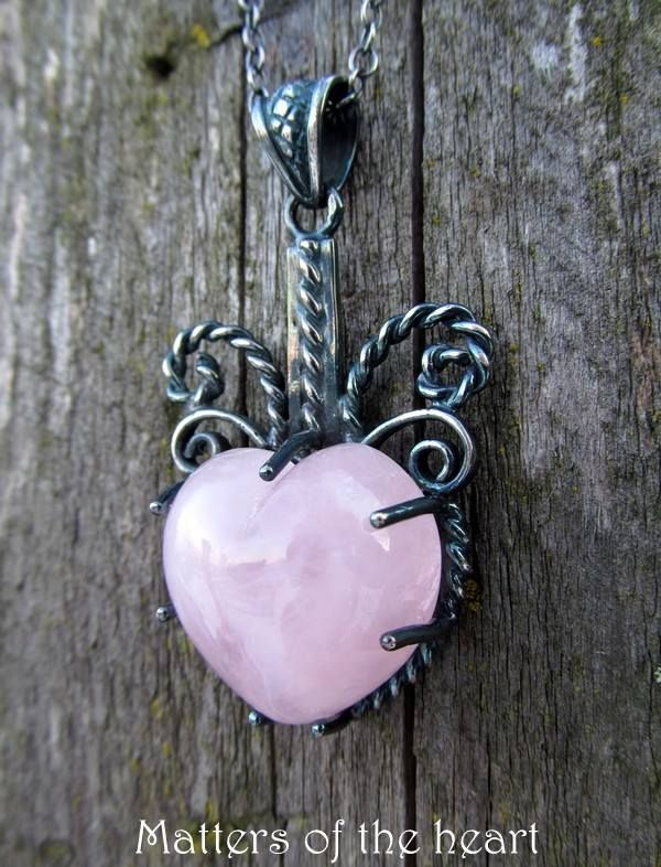 Antique silver pendant & rose quartz/pink natural stone heart https://www.facebook.com/pages/Afterforever/165476590226070