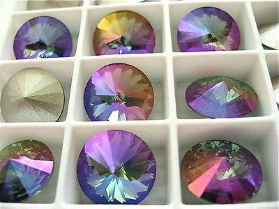 2 Aquamarine Purple Haze Foiled Swarovski Beads Rivoli Stone 1122 12mm