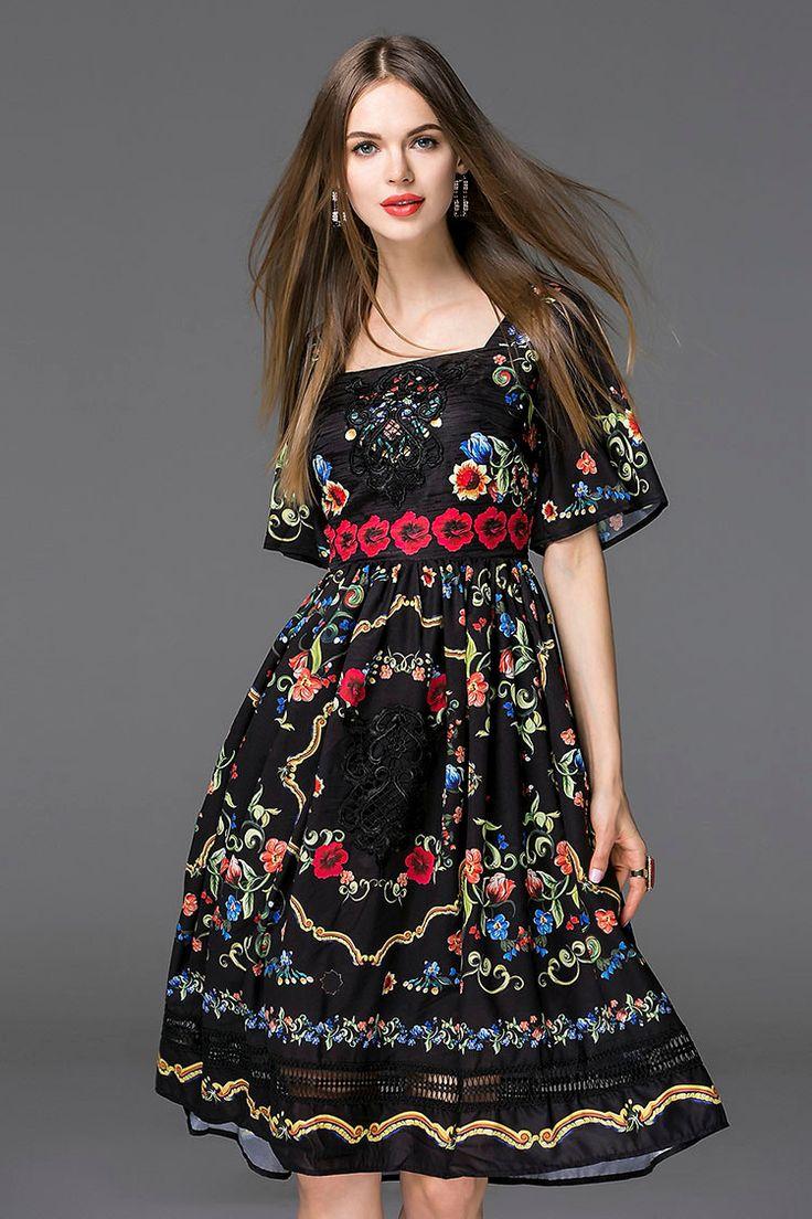 Vestido de verano 2016 de bohemia Runway marca moda corto llamarada de la manga nueva impresión Floral Vintage Hollow vestido de cuello cuadrado en Vestidos de Moda y Complementos Mujer en AliExpress.com | Alibaba Group