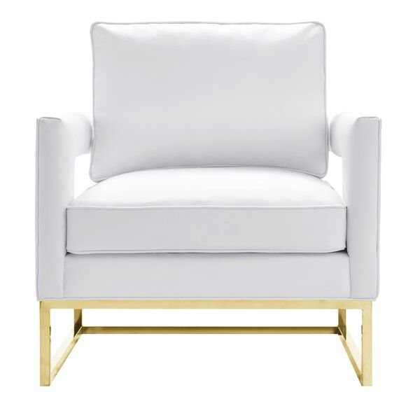 Steeped In A Streamlined Style This Modern Armchair Makes A Statement In Any Seating Group The Back And In 2020 White Leather Chair Leather Chair Upholstery Armchair