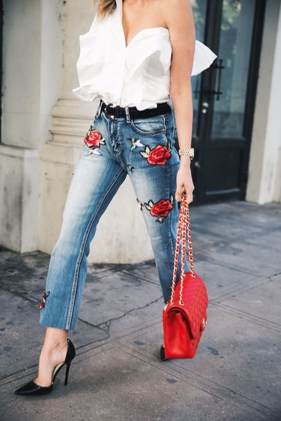 Jeans: black heels tumblr blue embroidered embroidered embroidered denim bag red bag chain bag pumps