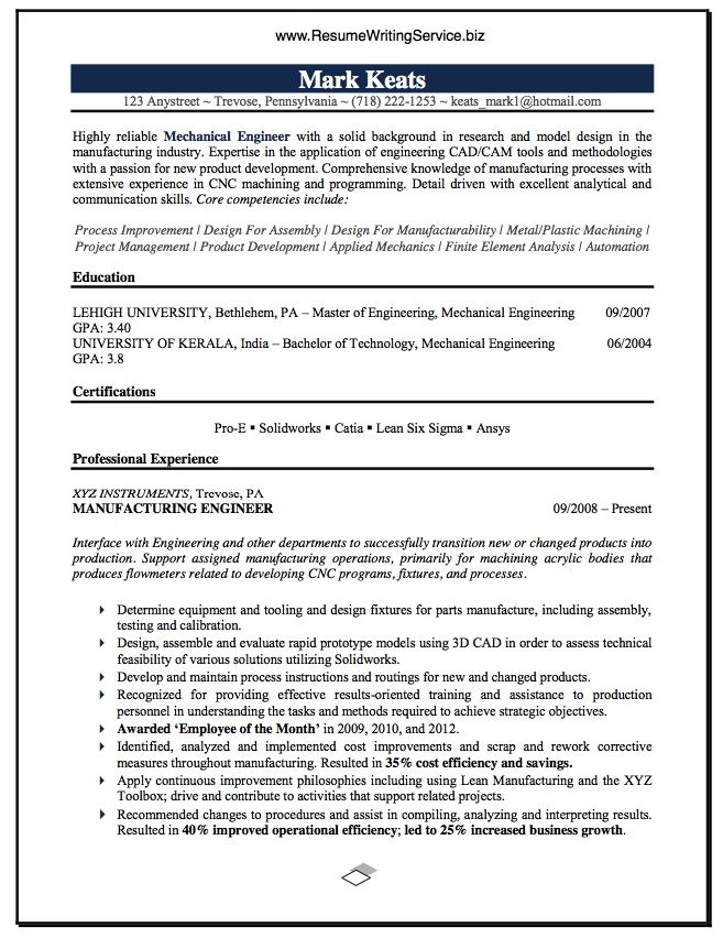 10 best Engineering Resumes images on Pinterest Resume, Resume - boeing mechanical engineer sample resume