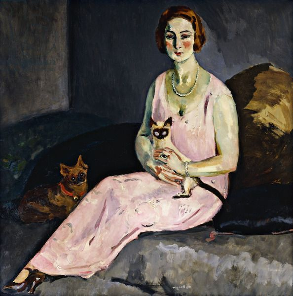 Woman with a Siamese Cat; (La Dame au Chat Siamois) by Kees Van Dongen. 1924, oil on canvas.