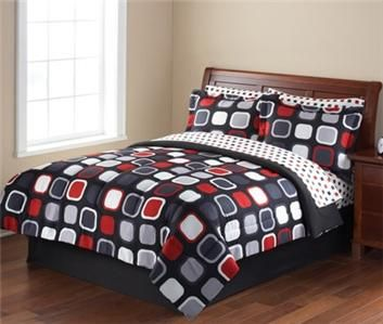 Bed sets with Red, Black and grey colors | ... Teen Black Red Gray MODERN SQUARE Comforter Sheets Bed in Bag Set NEW