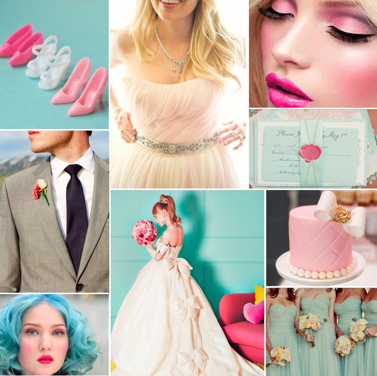 Barbie And Ken Wedding Inspiration Board Pink Aqua Grey