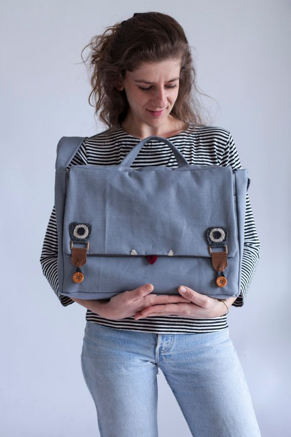 big messenger bag laptop messenger bag with face in by Marinsss, $79.00