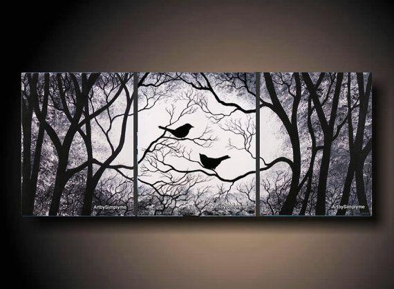 3 piece set wall art birds on tree three 16 x 20 piece for 3 piece painting ideas