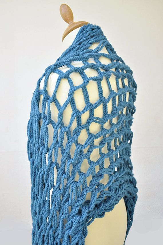 Arm knitting Extra Long Arm Knit Scarf Wrap Chunky Turqouise by IsabelleKnits, $40.00