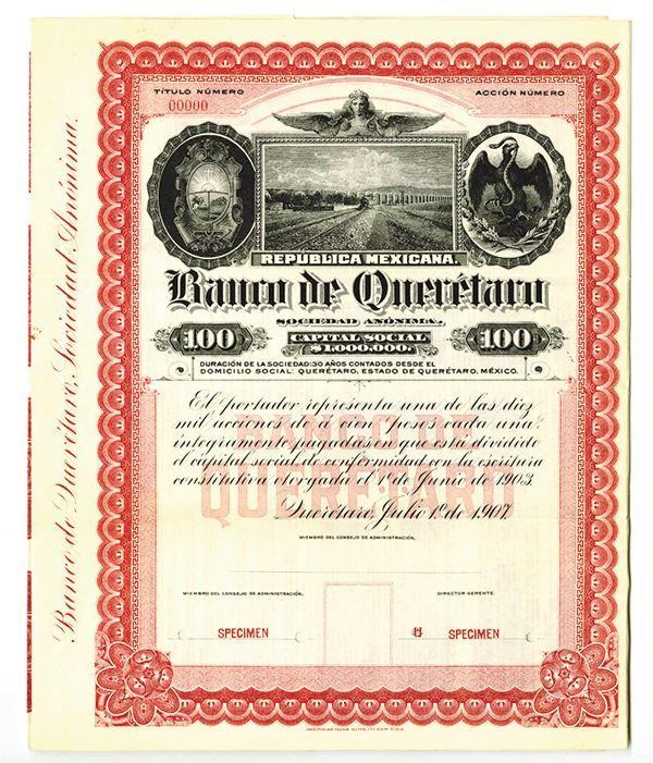Banco De Queretaro, 1907 Specimen Bond. - Archives International Auctions