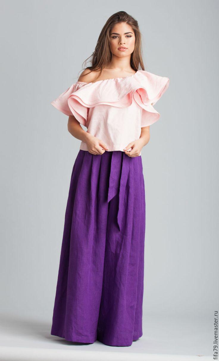 Купить Супер Широкие Льняные Брюки Юбка - тёмно-фиолетовый, льняные брюки, льняная юбка