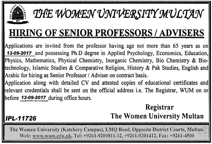 The Women University Multan Jobs for Senior Professors for All Subjects http://ift.tt/2xMGHAa   Applications are invited from the professor having age not more than 65 years as on 13-0.2017 and possessing Ph.D degree in Applied Psychology Economics Education Physics Mathematics Physical Chemistry Inorganic Chemistry Bio Chemistry & Bio-technology Islamic Studies & Comparative Religion History & Pak Studies English and Arabic for hiring as Senior Professor / Adviser on contract basis.  Last…