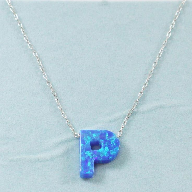 925 Sterling Silver Opal P-Initial Pendant Necklace