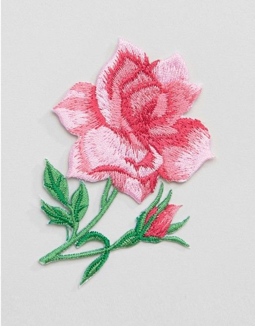 Orelia Pink Rose Embroidered Badge
