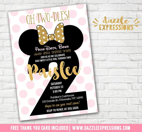 Printable Pink And Gold Glitter Minnie Mouse Inspired 2nd