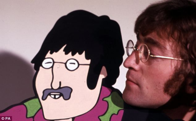 In these photographs The Beatles meet their animated counterparts which were used in the Yellow Submarine video. Here John Lennon is introduced to his cartoon self