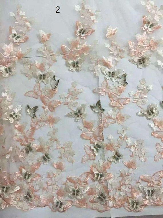 El último diseño 3D mariposa encaje tejido alencon cordón