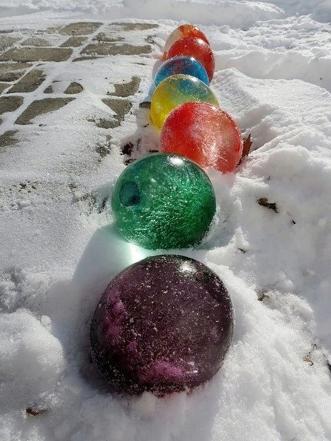 Fill balloons with water and food colouring freeze. Remove balloon. Decorate driveway, walkway, etc