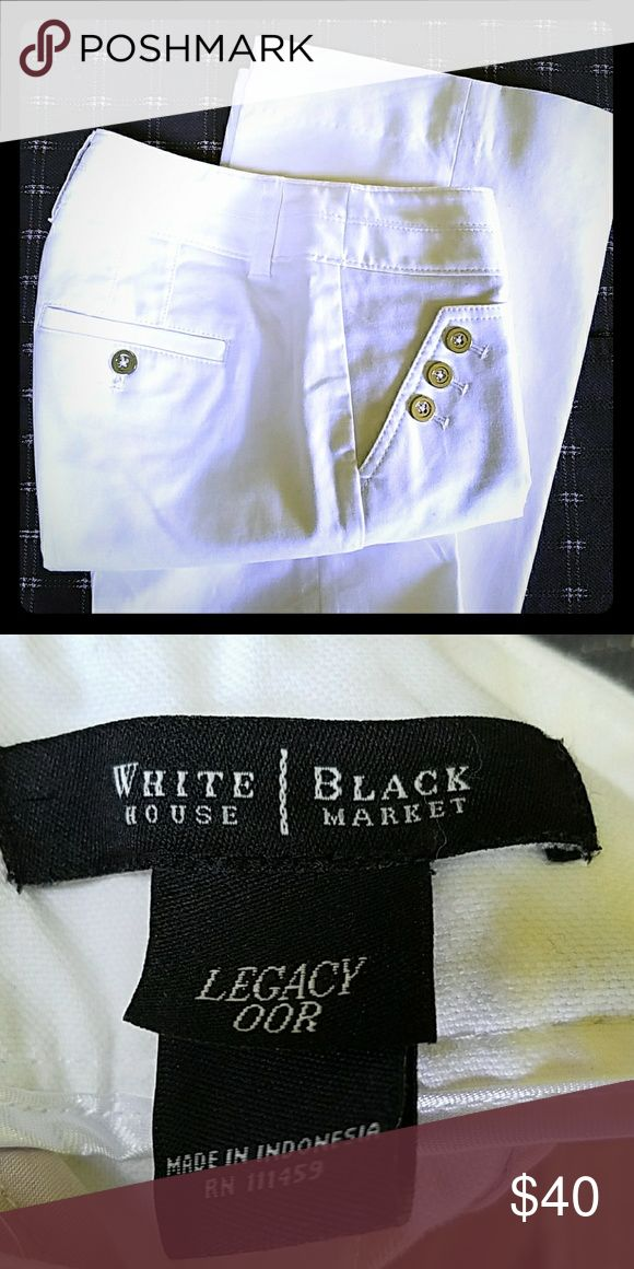 WHBM White Flare Pant Brand New. Never worn. Silver button detail. Nude color lining to help minimize pocket show through. 98% Cotton, 2% Spandex. Inseam: 31.5in. Fits more like a 25 waist. White House Black Market Pants Boot Cut & Flare