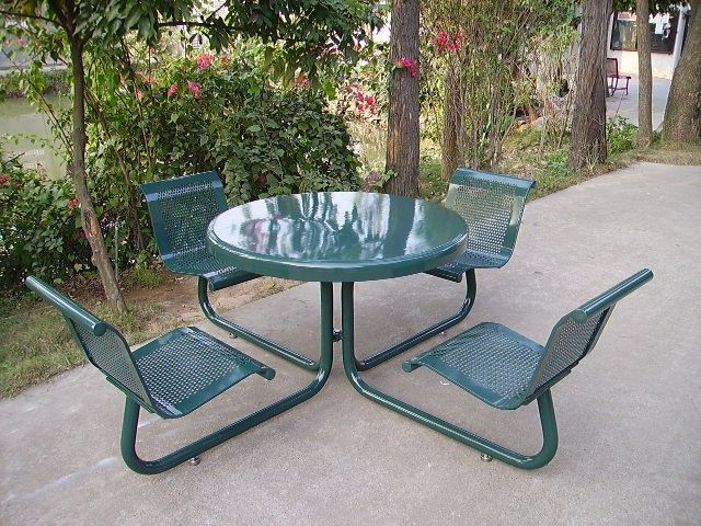Perfect Powder Coated Metal Outdoor Table With Chairs Park Table With Chairs, View Outdoor  Table With