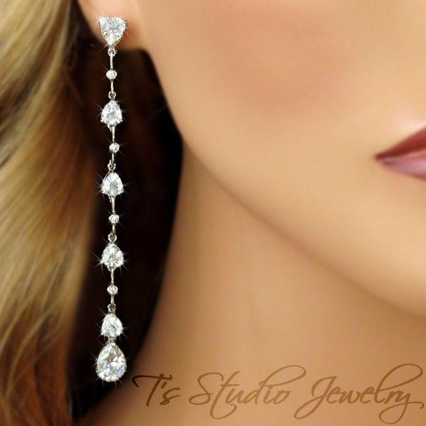 Long Skinny CZ Bridal Earrings