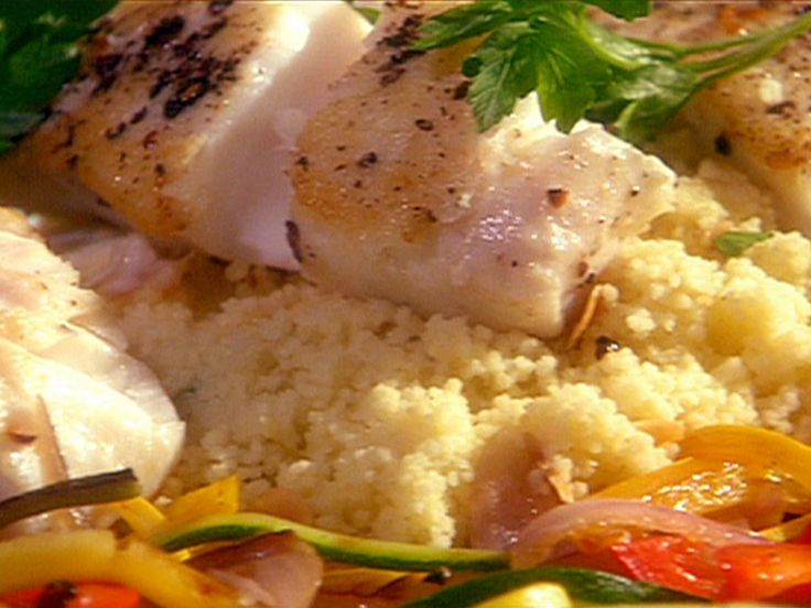 Pan Seared Fish (Pacific Halibut or Cod) with Herbed Vegetable Ribbons and Couscous recipe from The Essence of Emeril via Food Network