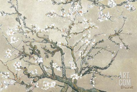 Branches d'amandier en fleurs, Saint-Rémy, vers1890 - tonalité brun beige Reproduction d'art