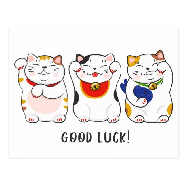 Maneki Neko Cats Postcard Zazzle Com Maneki Neko Neko Cat Neko