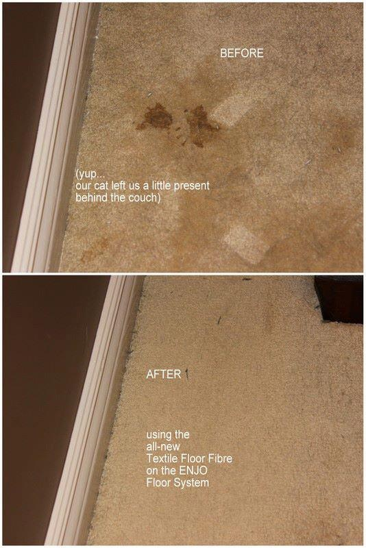 Removing spots from carpeting using the ENJO Textile Glove  Water!