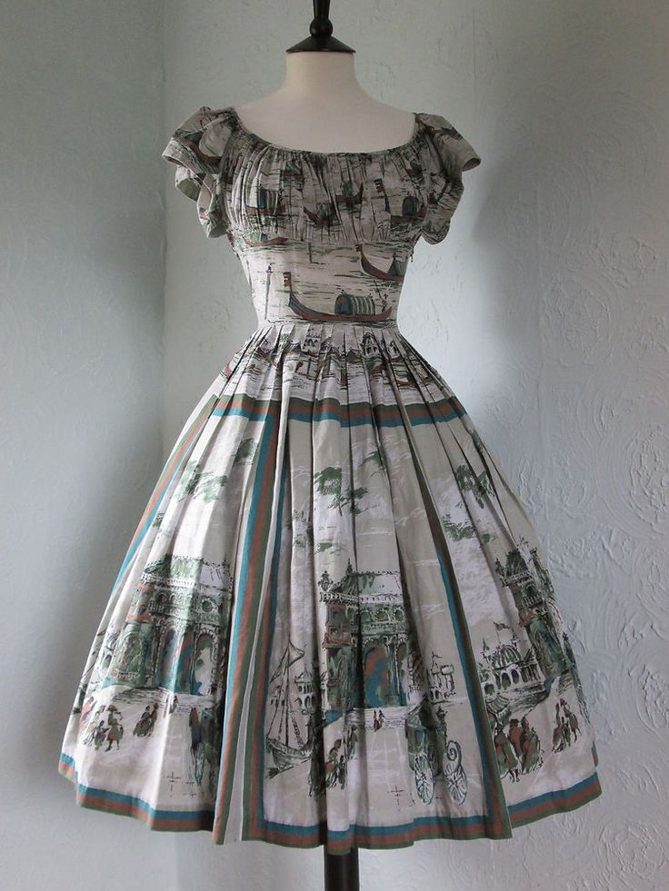 Original Vintage 50s Novelty Venice Scenic Print Cotton Day Dress Full Skirt 6 8