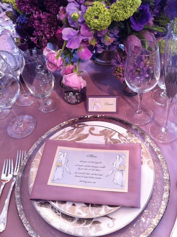 Gorgeous Purple Table Design by La Tavola, Louloudi, and Kristy Rice.  Nice set up