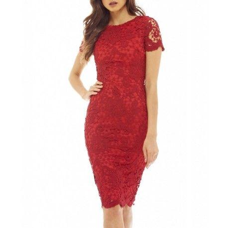 Czerwona koronkowa sukienka ołówkowa midi z krótkim rękawkiem