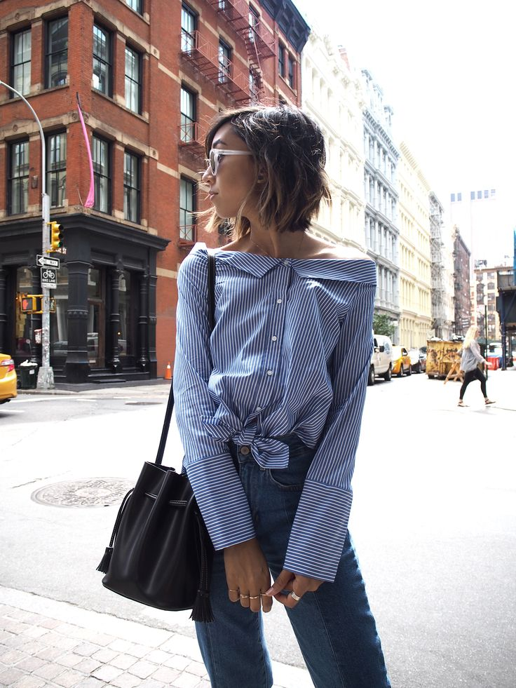 NYFW 2016 Street Style || Unconscious Style || Stephanie Arant @shhtephs. Off shoulder collared poplin blouse with tie and two tone denim.