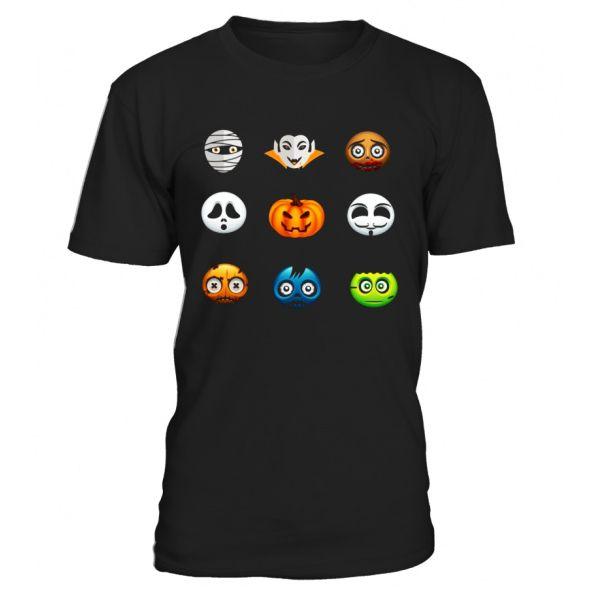 Halloween Emoji Tshirt Funny Pumpkin, Ghost, Skeleton