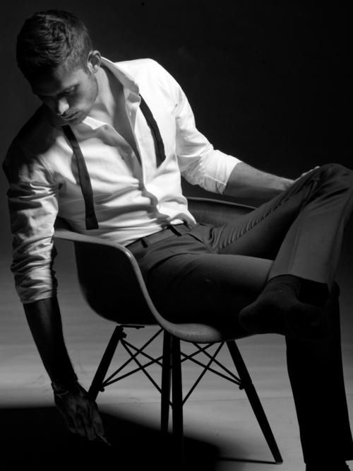 not sure who this is...but hes beautiful: Sexy, Style, White Shirts, Dresses Shirts, Black White, Men Fashion, Suits, Photo, Man