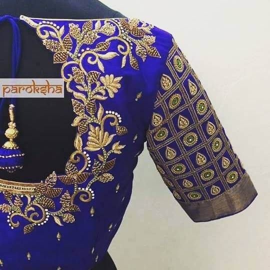 Blue clour cut work blouse. sareeblouse  saree  indianwear  indianwedding  womensclothing  bridal   bridalwear  bridalblouse  blouse  intricate  embroidery  handmade  artisan  parokshadesign  18 October 2016