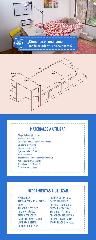 ¡A tus hijos les encantará este proyecto! Conoce cómo hacer una cama modular infantil con cajoneras en el siguiente Hágalo Usted Mismo #Sodimac #Homecenter #Hum