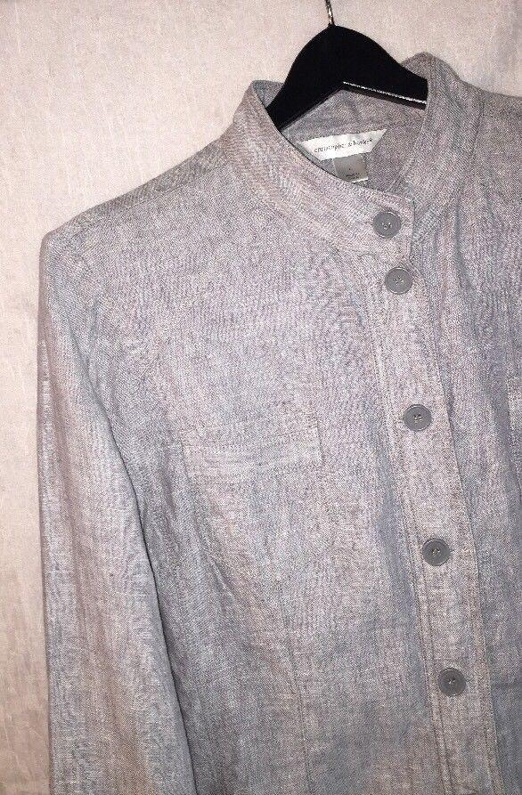 ca37217292e CHRISTOPHER   BANKS Size Large Gray Jacket 100% Linen Button Front Blazer   ChristopherBanks