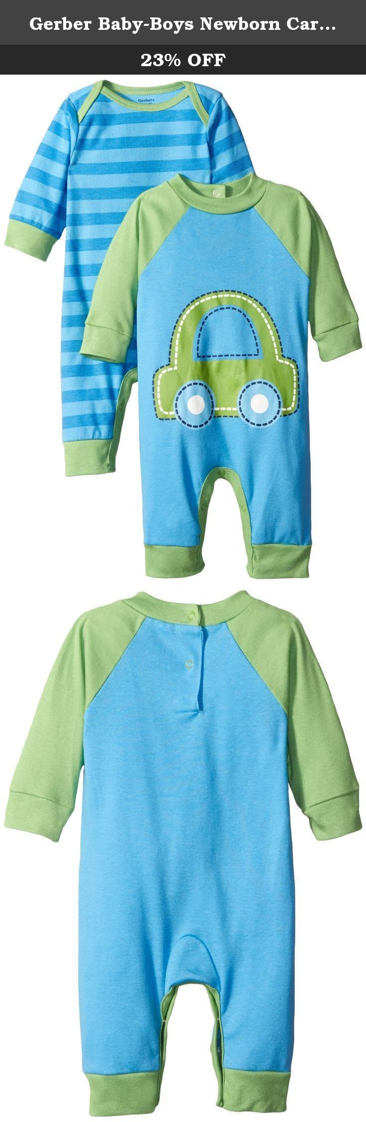 Gerber Baby-Boys Newborn Car 2 Pack Coverall, Car Blue, 18 Months. Gerber coveralls are cozy soft and comfortable for any indoor or outside activity, any time of day.