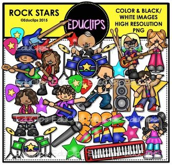 This is a set of musicians and singers who are all part of a rock/pop band. The images include drums, keyboard, speaker, guitars, plectrums, stars, microphone, drummer, guitarists, singers, keyboard player and word art. 49 images (30 in color and 19 in B&W)