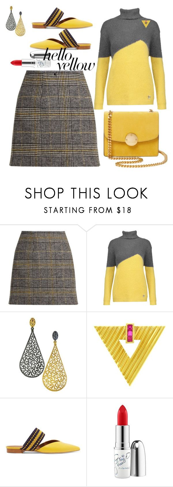 """""""In the novel The House on Mango Street By Sandra Cisneros violence plays a large role in the characters lives. Violence is shown throughout the story through the eyes of Esperanza who is the main character..."""" by ann-kelley14 ❤ liked on Polyvore featuring AlexaChung, Versace, Alex Soldier, Tiffany & Co., Malone Souliers, Marc Jacobs, MAC Cosmetics, PopsOfYellow and NYFWYellow"""