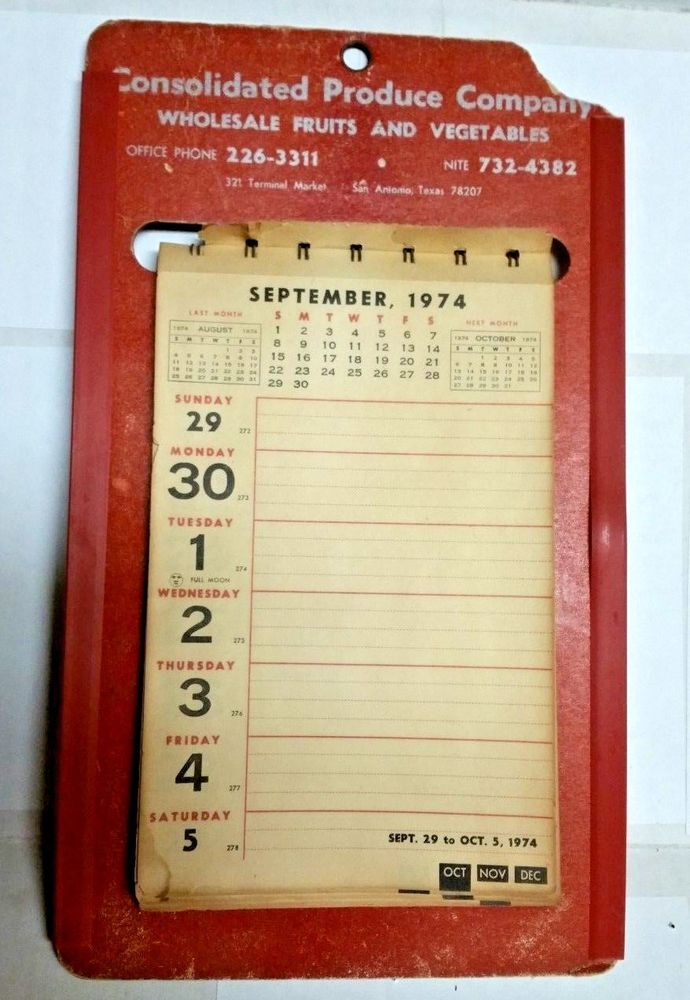 Details About Vintage 1974 Flip Page Calendar From Consolidated