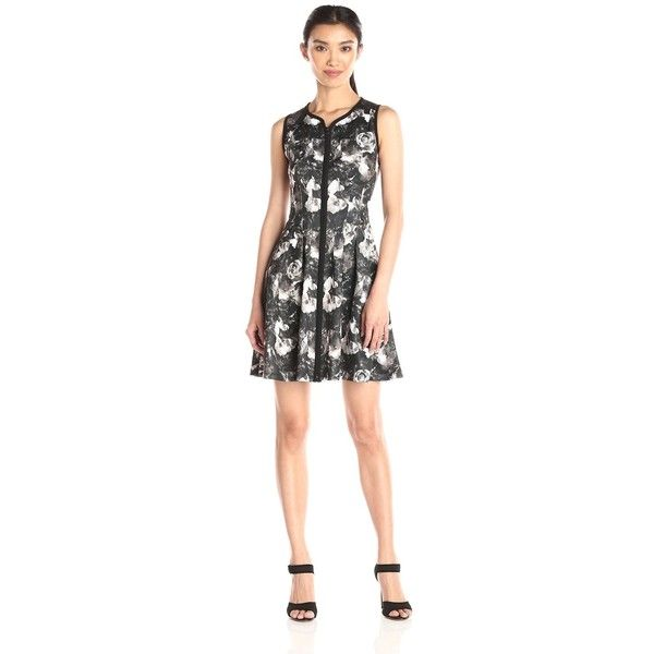 Betsey Johnson Women's Printed Scuba Zip Front Dress ($47) ❤ liked on Polyvore featuring dresses, zipper front dresses, flower pattern dress, white flower print dress, white floral dress and flower print dress