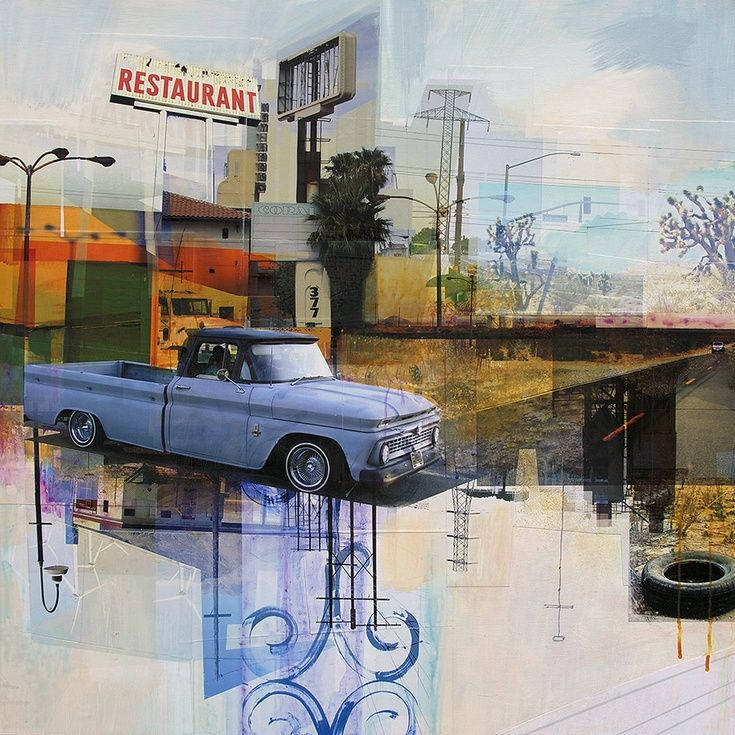 ARTFINDER: Heading Out To The Desert  by Jon  Measures - Mixed media collage of digital prints and acrylic paint on wood panel.