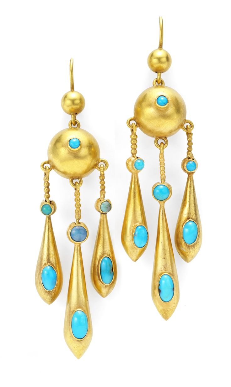A Pair of Gold Victorian Earrings with cabochon turquoise accents. Available at FD.  www.fd-inspired.com