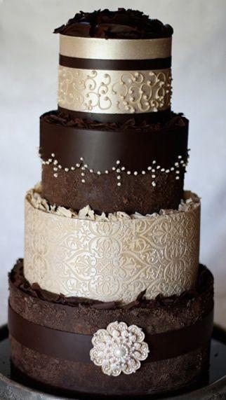 Champagne & chocolate wedding cake. #GlamorousWeddingCake #ChocolateWeddingCake #WeddingCake