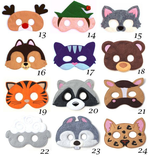 This listing is for Pick Any 1 of our super cute felt kids masks. These are great for Halloween, costume parties, everyday dress up and they make wonderful party favors as well. Children have so much fun with our masks letting their imaginations run wild. Every kid loves pretend play and now you can help your child have a vivid imagination with our handmade masks. Masks are approximately 7 1/4 x 5 inches depending on the style. Each mask is make using wool blend felt. They are machine…