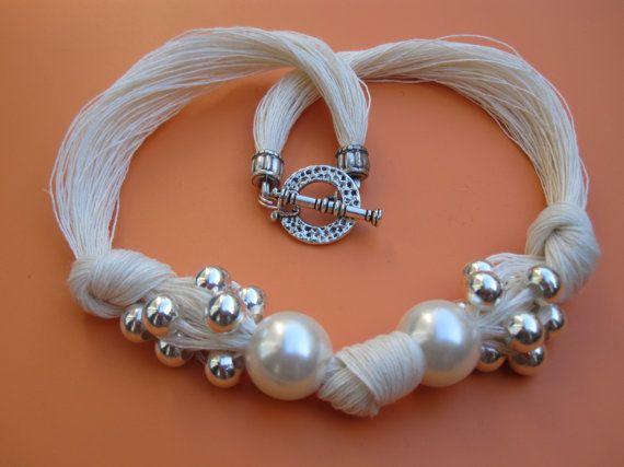 White Linen Necklace Knots Fantasy XL Pearls Metalic Pearls,Eco-friendly Handmade Desing Mediterranean Style