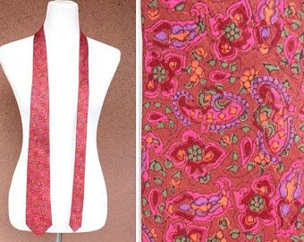 1970's SHEMOY Indian Silk Tie - 70's Paisley Silk Tie