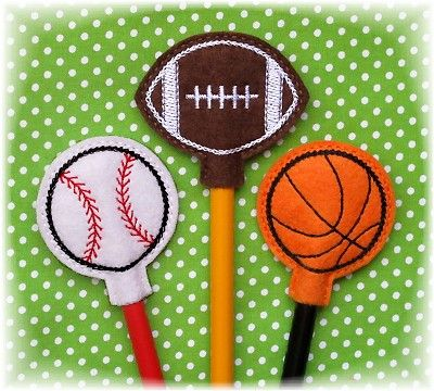 Sports Ball Pencil Toppers FELT STITCHIES (in the hoop)